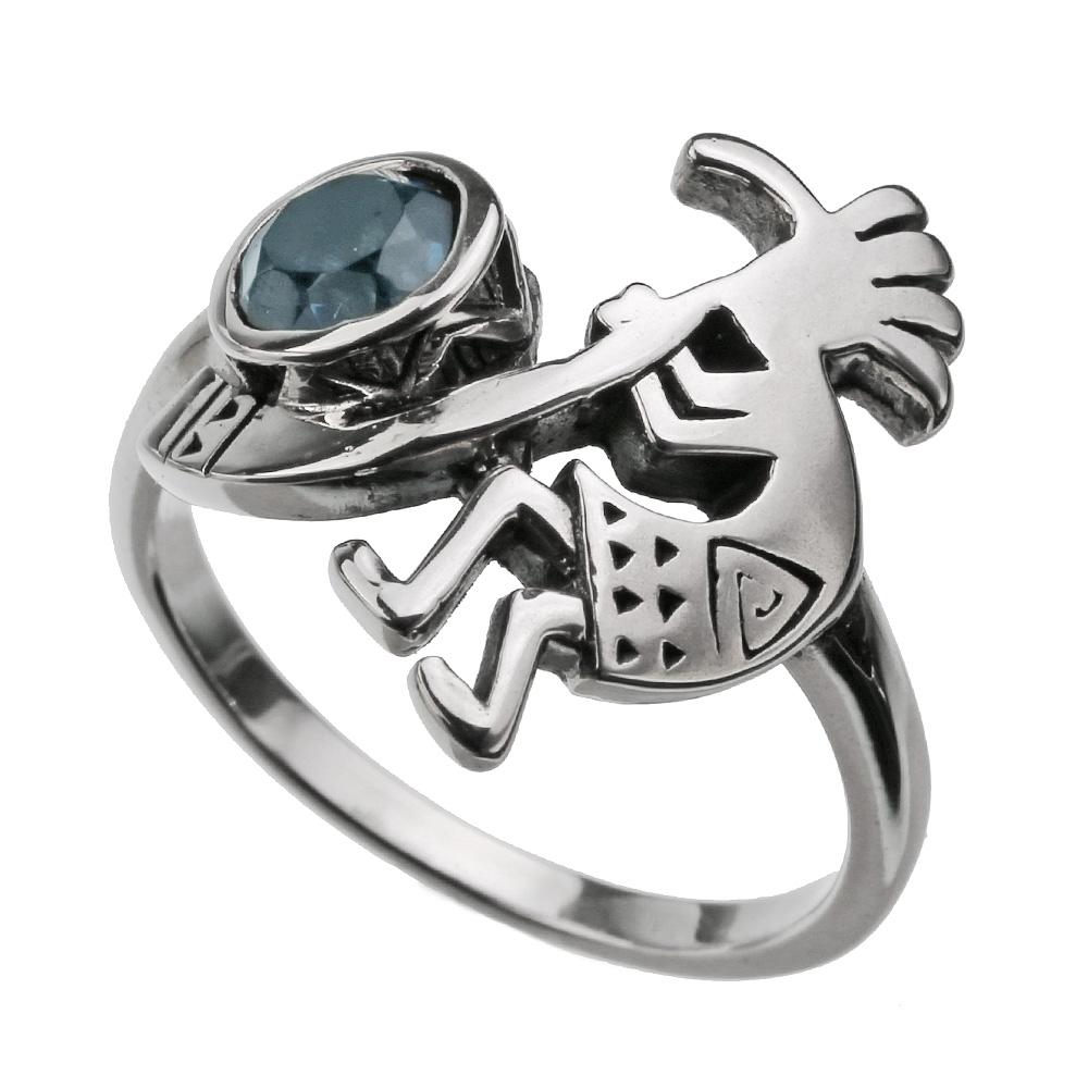 ココペリ ブルートパーズ リング メンズ シルバー アクセサリー 指輪 [シルバーリング]