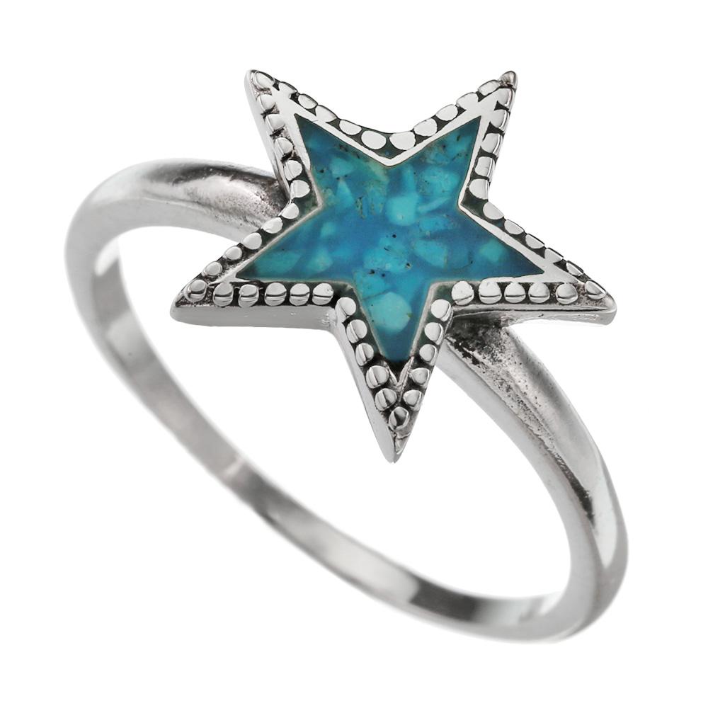 クラッシュ ターコイズ ネイティブ スター リング シルバー アクセサリー 指輪 天然石 星 [シルバーリング] 送料無料