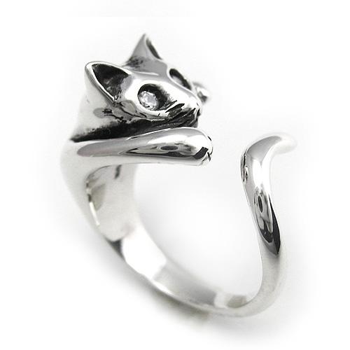 ネコ リング 猫 シルバー アクセサリー 指輪 [シルバーリング]