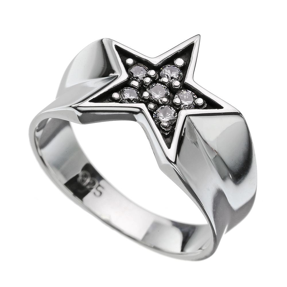 ジルコニア スター リング シルバー 指輪 星 メンズ レディース [シルバーリング]