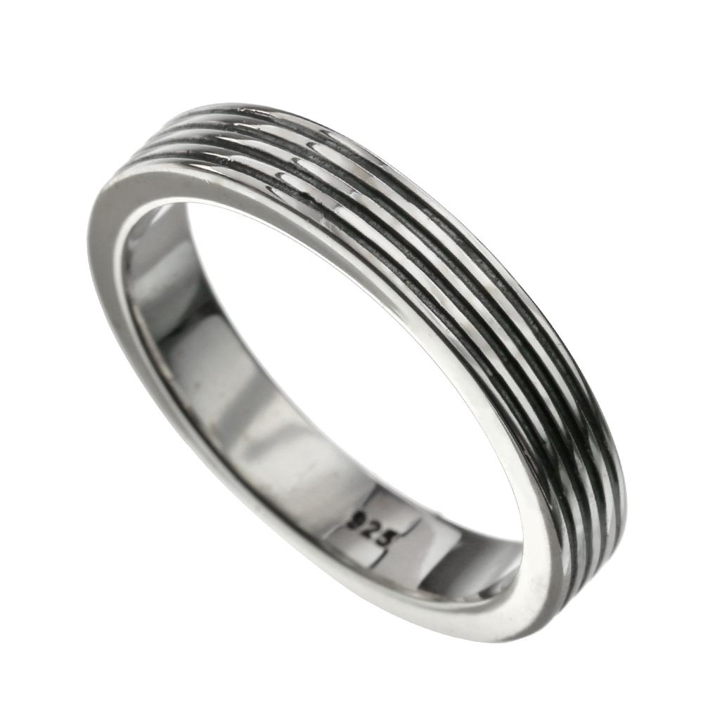 【刻印可能】 フォー ブラックライン リング ネイティブ系 アクセサリー 指輪 [シルバーリング]