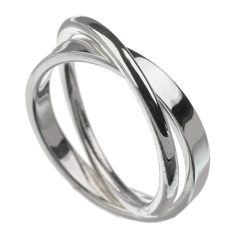 シンプル 2連 リング 指輪 メンズ [シルバーリング]