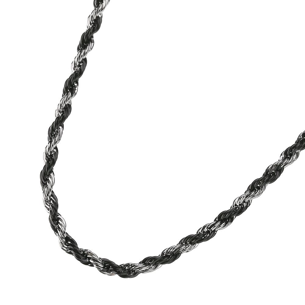 2カラー ロープ スチール チェーン 45cm/50cm ネックレス [ステンレスチェーン]  メンズ