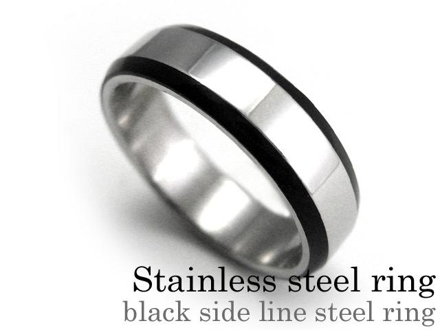 ブラックサイドラインスチール リング ステンレス アクセサリー 指輪 [ステンレスリング]