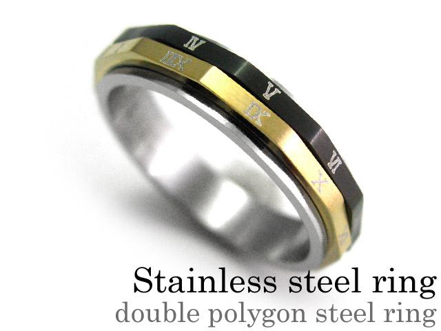 ダブルポリゴンスチール リング スリム ステンレス アクセサリー 指輪 [ステンレスリング]