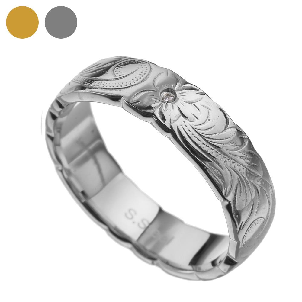 ジルコニア プルメリア ステンレス リング メンズ レディース ハワイアン 指輪 [ステンレスリング] 送料無料