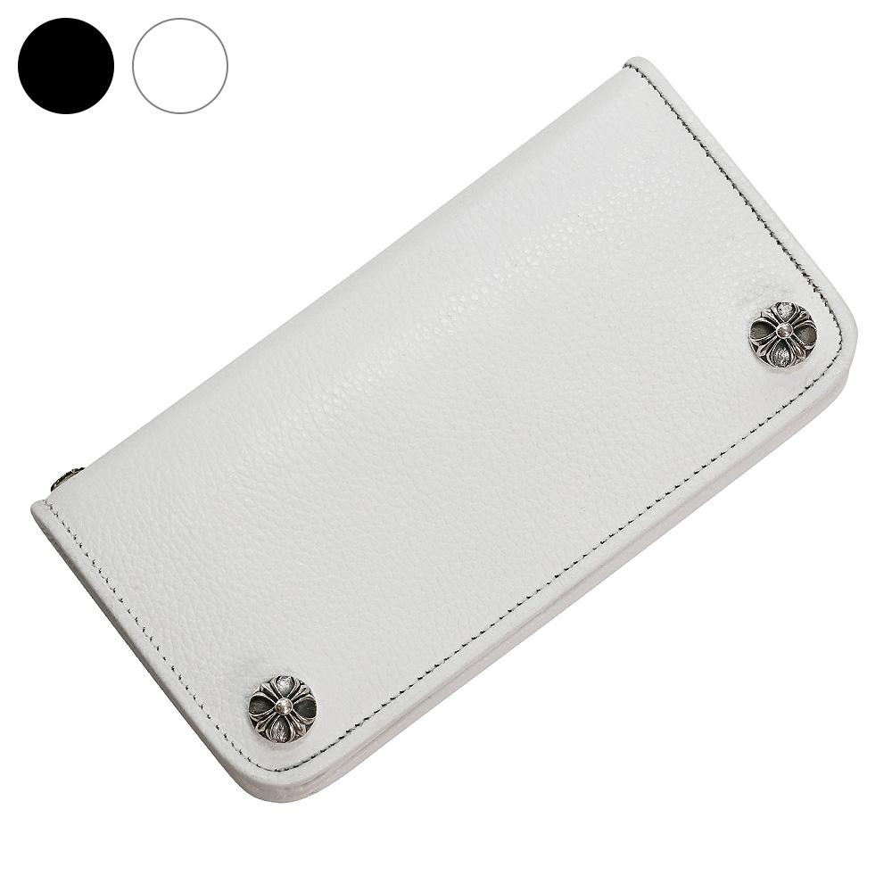 ホワイト クロス レザー ウォレット 革財布 送料無料