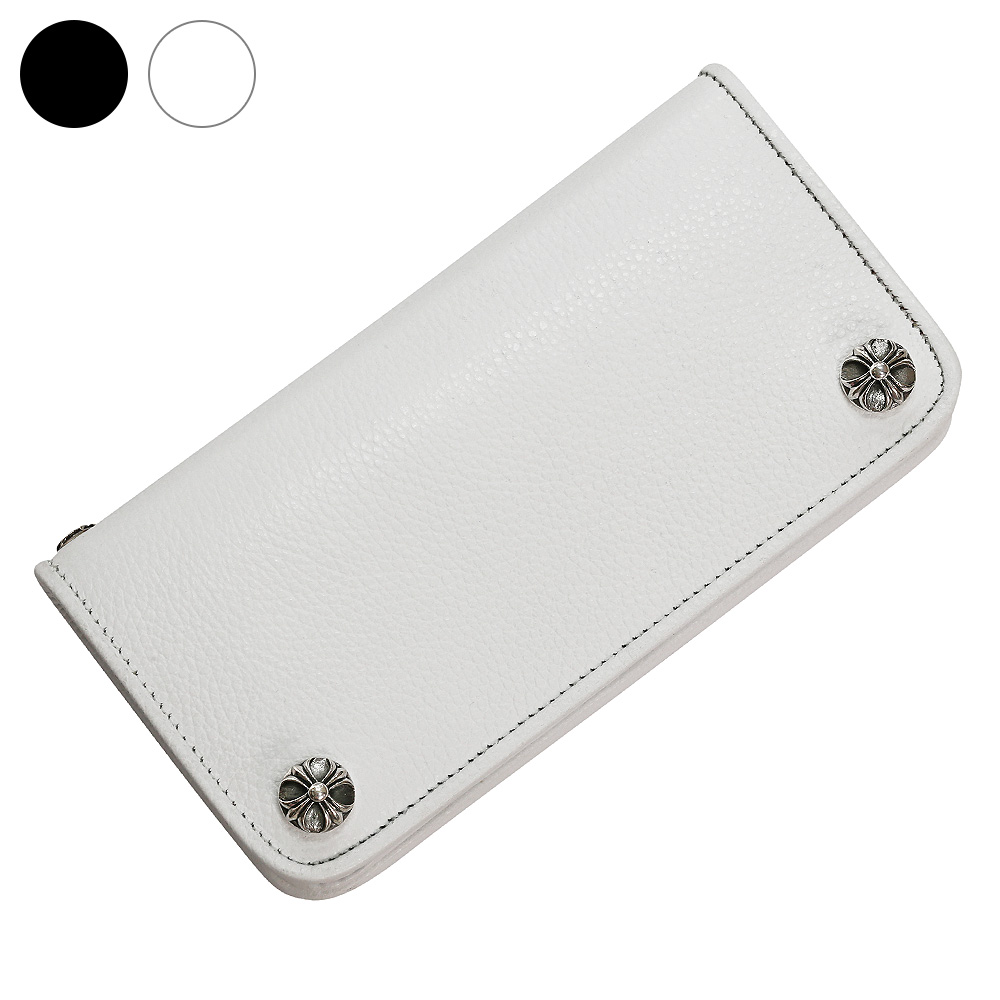 ホワイト クロス レザー ウォレット 革財布