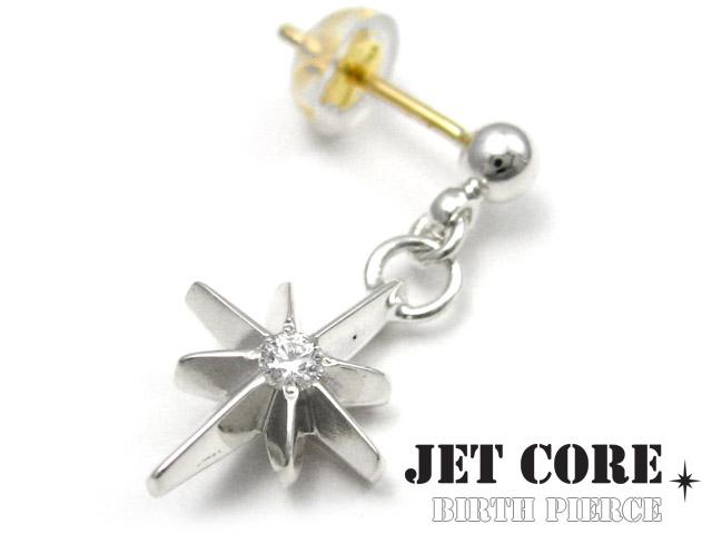 JET CORE (ジェットコア) バース ピアス ダイヤモンド メンズ 男性 [シルバーピアス] 送料無料 片耳用(1個売り)