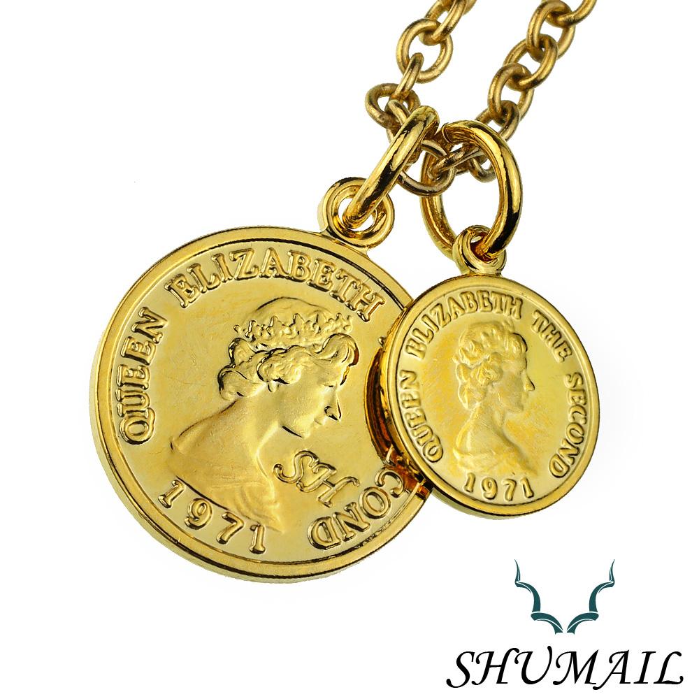SHUMAIL (シュメール) ブランド ダブルゴールド コイン ペンダント 真鍮 PVDコーティング ステンレススチール