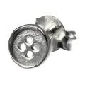 シルバーピアス (bae-0901) 洋服 ボタン 四つ穴 スタッドピアス シルバー アクセサリー ミニチュア [シルバーピアス] 片耳用(1個売り)
