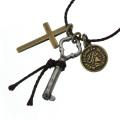 真鍮 ペンダント ネックレス メンズ シルバー アクセサリー 鍵 コイン ブラス[真鍮]