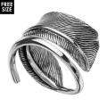 コイル フェザー リング シルバー アクセサリー 指輪 [シルバーリング] 羽根 ネイティブ系 フリーサイズ