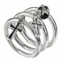 クロス スカル チャーム 3連 リング シルバー アクセサリー 指輪 [シルバーリング] 送料無料