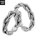 【ペア販売】 シンプル 編み込み ペアリング シルバー アクセサリー 指輪 [シルバーリング] 送料無料 三つ編み リング フリーサイズ