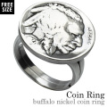 バッファローニッケル コイン リング 本物の硬貨 アメリカ 5セント 指輪 [シルバーリング]