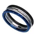 ブルー ブラック デザイン カッティング 3連 リング ステンレススチール アクセサリー 指輪 [ステンレスリング]