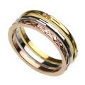 ピンク ゴールド デザイン カッティング 3連 リング ステンレススチール アクセサリー 指輪 [ステンレスリング]