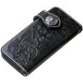フラワーカービングブラック レザー ウォレット 牛革財布