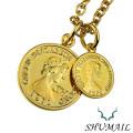 SHUMAIL (シュメール) ブランド ダブルゴールド コイン ペンダント 真鍮 PVDコーティング ステンレススチール ラッピング無料