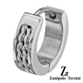 zanipolo terzini(ザニポロタルツィーニ) ハーフ ロープ デザイン フープ ピアス [ステンレスピアス] フープピアス メンズ 男性 アクセサリー 片耳用(1個売り)