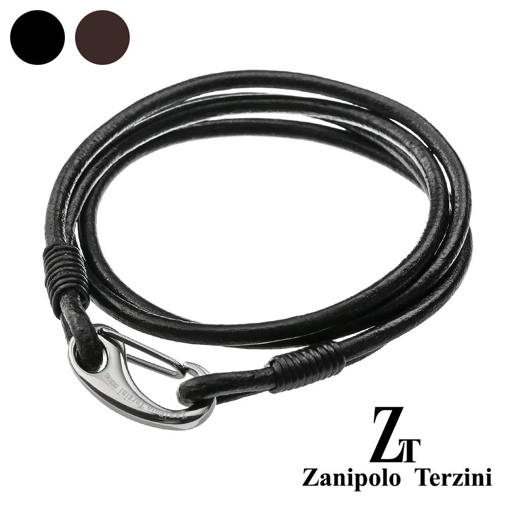 zanipolo terzini(ザニポロタルツィーニ) 2重巻き ダブル レザー ブレスレット 本革 メンズ ステンレス アクセサリー