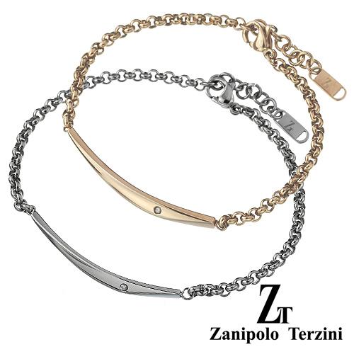 【ペア販売】zanipolo terzini (ザニポロタルツィーニ) ダイヤモンドクレセント ペア ブレスレット ステンレス アクセサリー [ステンレスブレスレット]