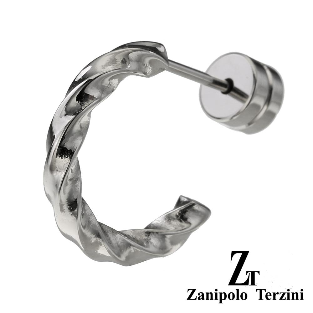 zanipolo terzini(ザニポロタルツィーニ) スクリュー ハーフ フープ ステンレス ピアス フープピアス メンズ 男性 アクセサリー [ステンレスピアス] 片耳用(1個売り)