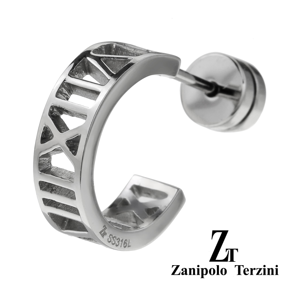 zanipolo terzini(ザニポロタルツィーニ) ナンバー ハーフ フープ ステンレス ピアス フープピアス メンズ 男性 アクセサリー ローマ数字 [ステンレスピアス] 片耳用(1個売り)