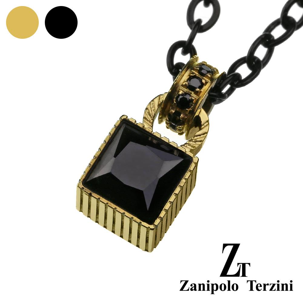 zanipolo terzini (ザニポロタルツィーニ) スクエア ブラック ジルコニア ペンダント 四角形 ステンレス アクセサリー 送料無料 [ステンレスペンダント]