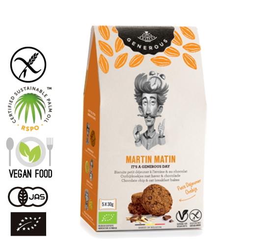 有機JAS認証 グルテンフリー クッキー (オーツ麦・チョコチップ)Martin Matin(GENEROUS オーガニック クッキー)[5袋入り]ベルギー産《常温便》