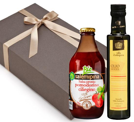 【箱代込・ラッピング代込】オーガニックの調味料セット(オリーブオイルゾットペラ[250ml]+サレミピーナ トマトソース[330g])【常温便】
