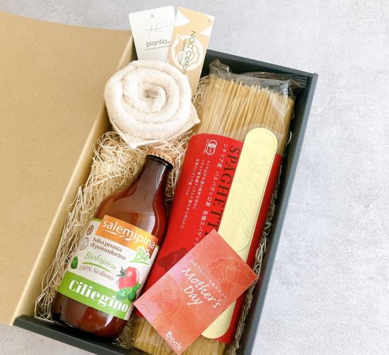 【特別ギフト】オーガニックコットン フラワーハンカチ + バルバガッロ スパゲッティー[500g] + サレミピーナ トマトソース[330g]【常温便】