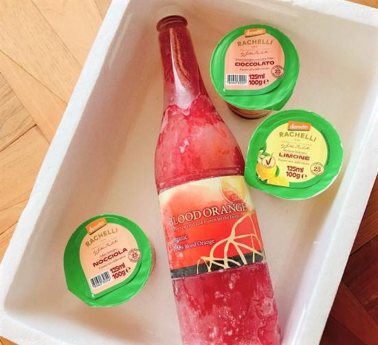 海外オーガニック認証 取得 ジェラート(ジルド・ラケーリ)3個 + 有機JAS認証 ブラッドオレンジジュース 1本 のギフトセット イタリア産【冷凍便】