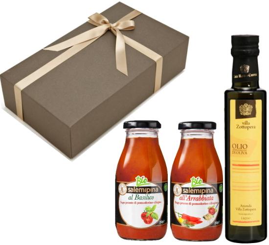 【箱代込・ラッピング代込】オーガニックの調味料セット(EXVオリーブオイル ゾットペラ[250ml]+サレミピーナ トマトソース[250g]x2本)【常温便】