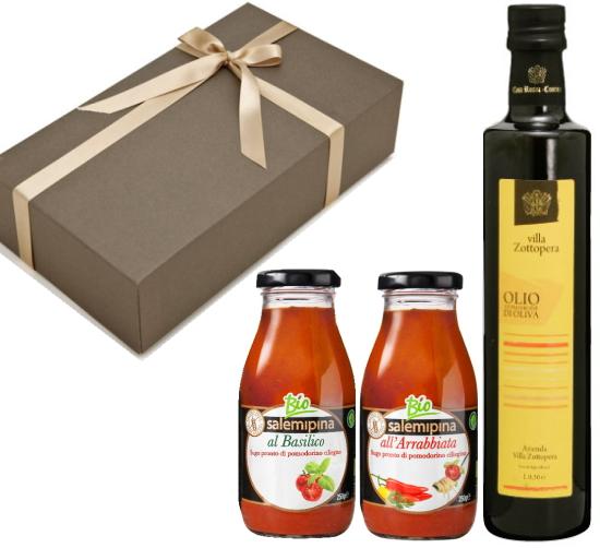 【箱代込・ラッピング代込】オーガニックの調味料セット(EXVオリーブオイル ゾットペラ[500ml]+サレミピーナ トマトソース[250g]x2本)【常温便】