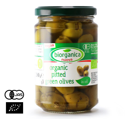 有機JAS認証 種なし グリーンオリーブ オイル漬け(オーガニック 種無し テーブルオリーブのオイル漬け)イタリア産[280g]【常温便】
