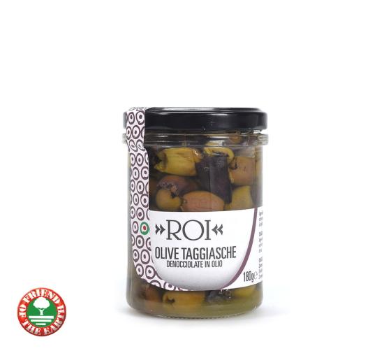 タジャスカ種のオリーブオイル漬け (オーガニック 種無し テーブルオリーブのオイル漬け)イタリア産[180g]【常温便】