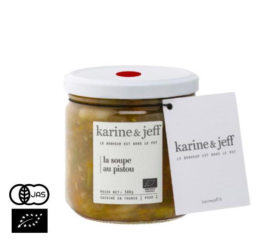 有機JAS認証 スープ・オ・ピストゥ カリーヌ&ジェフ(オーガニック 白いんげんと野菜のスープ)フランス産[390ml]