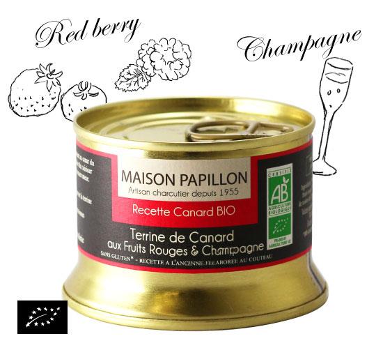 海外有機認証 カモと赤いベリーとシャンパンのテリーヌ(オーガニックテリーヌ)フランス産 パテ[130g]【常温便】