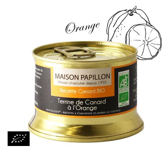 海外有機認証 カモとオレンジのテリーヌ(オーガニックテリーヌ)フランス産 パテ[130g]【常温便】