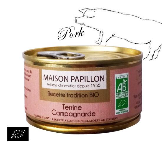 ユーロリーフ認証 田舎風 有機豚肉のテリーヌ (アヴェロン産テリーヌ)フランス産 パテ[130g]【常温便】