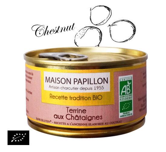 海外有機認証 セヴェンヌ風 有機豚肉と栗のテリーヌ(オーガニックテリーヌ)フランス産 パテ[130g]【常温便】