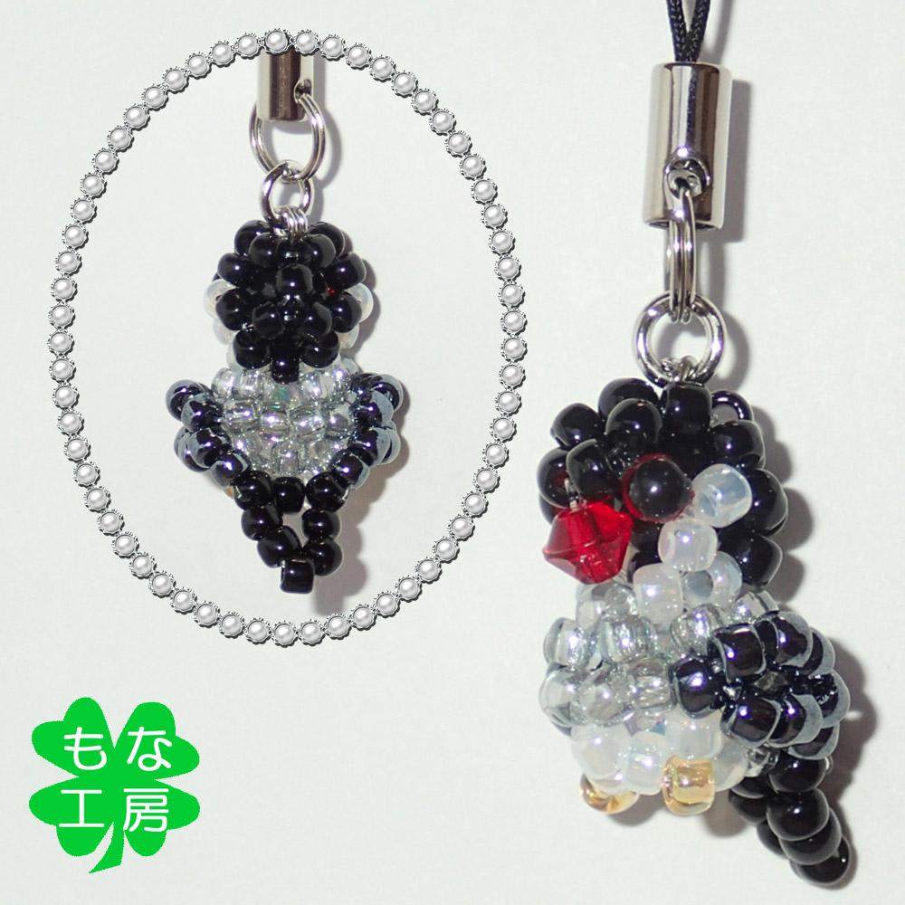 【もな工房】ストラップ/文鳥・桜◆クロネコDM便可能