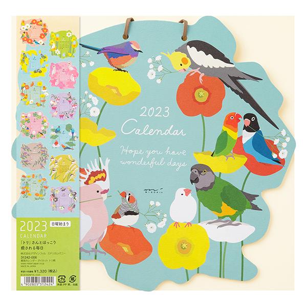 9995529【MIDORI】2021年 壁掛カレンダー ダイカット トリ柄 31013-006