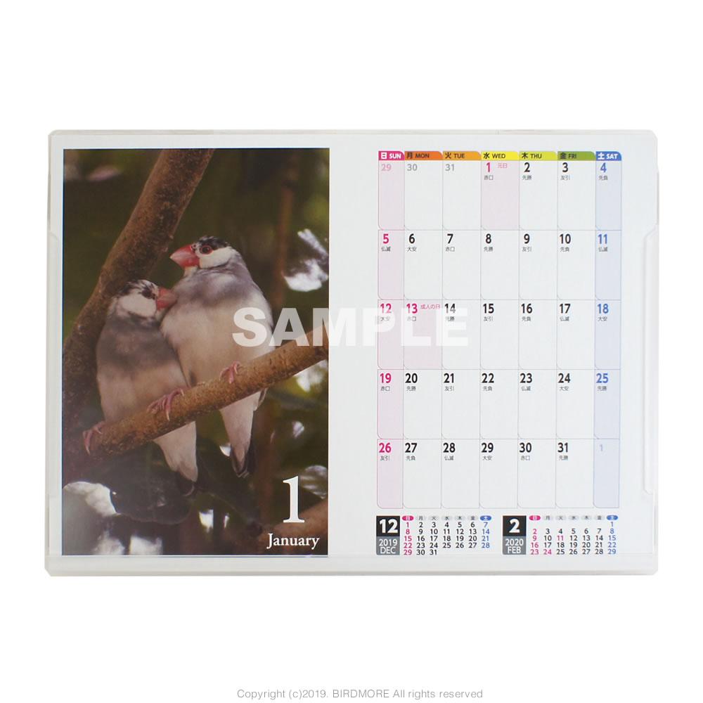 9995551【イーフェニックス】2020年 3way 文鳥 鳥写真カレンダー ◆クロネコDM便可能