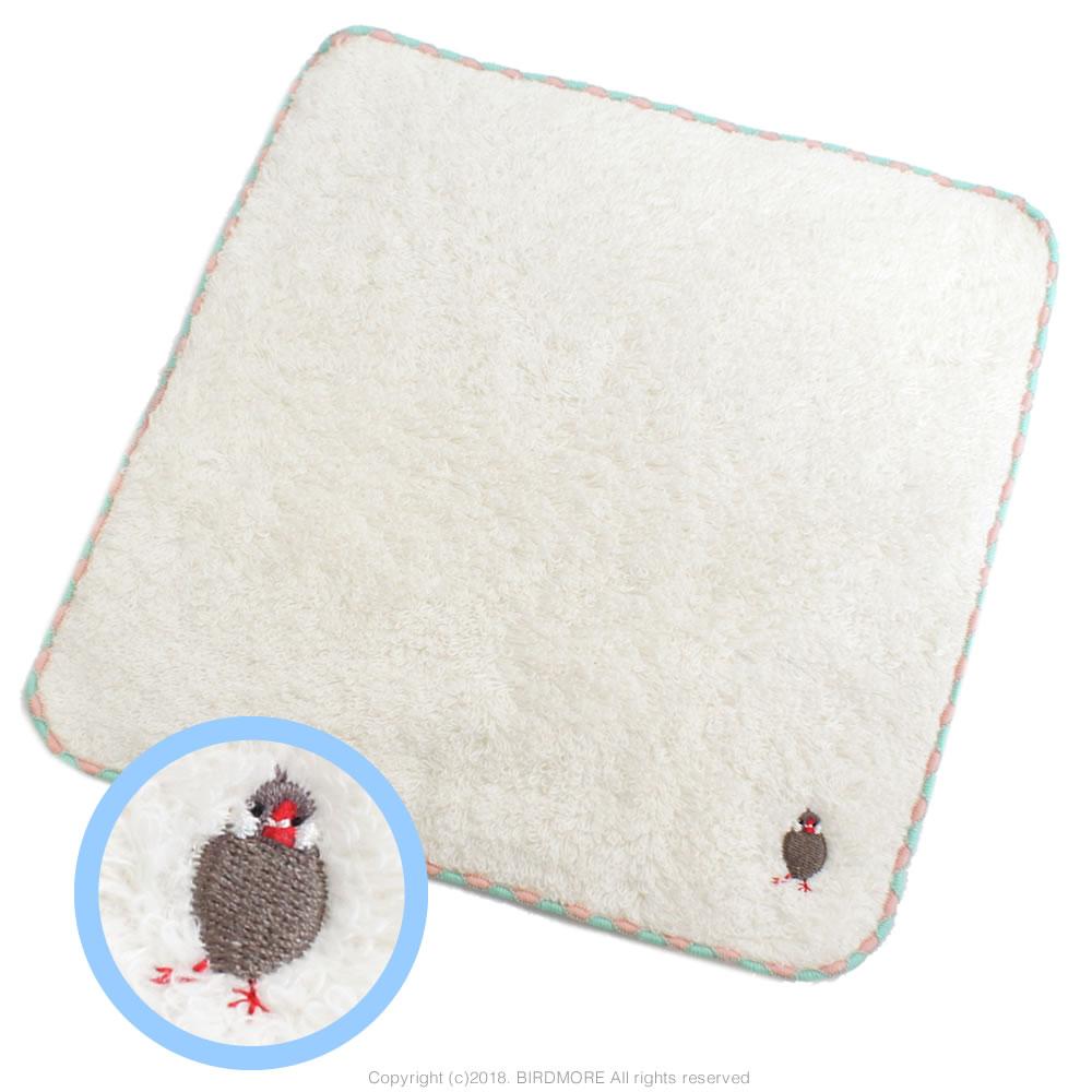 9997155【フレンズヒル】刺繍タオル/文鳥・桜◆クロネコDM便可能