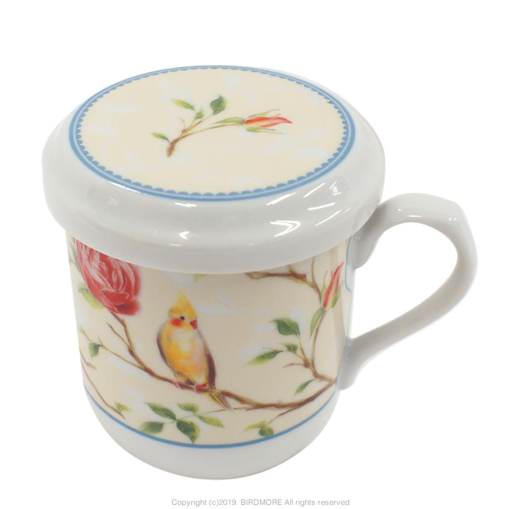 9997574【ナルミ】蓋付きマグカップ インコとバラ