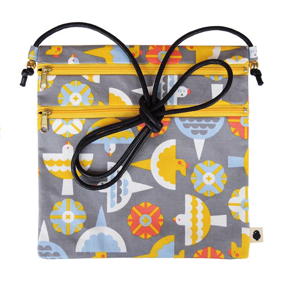 9998055【KOTORITACHI】ポシェット&カード2021  花を囲むコトリタチ(グレー)