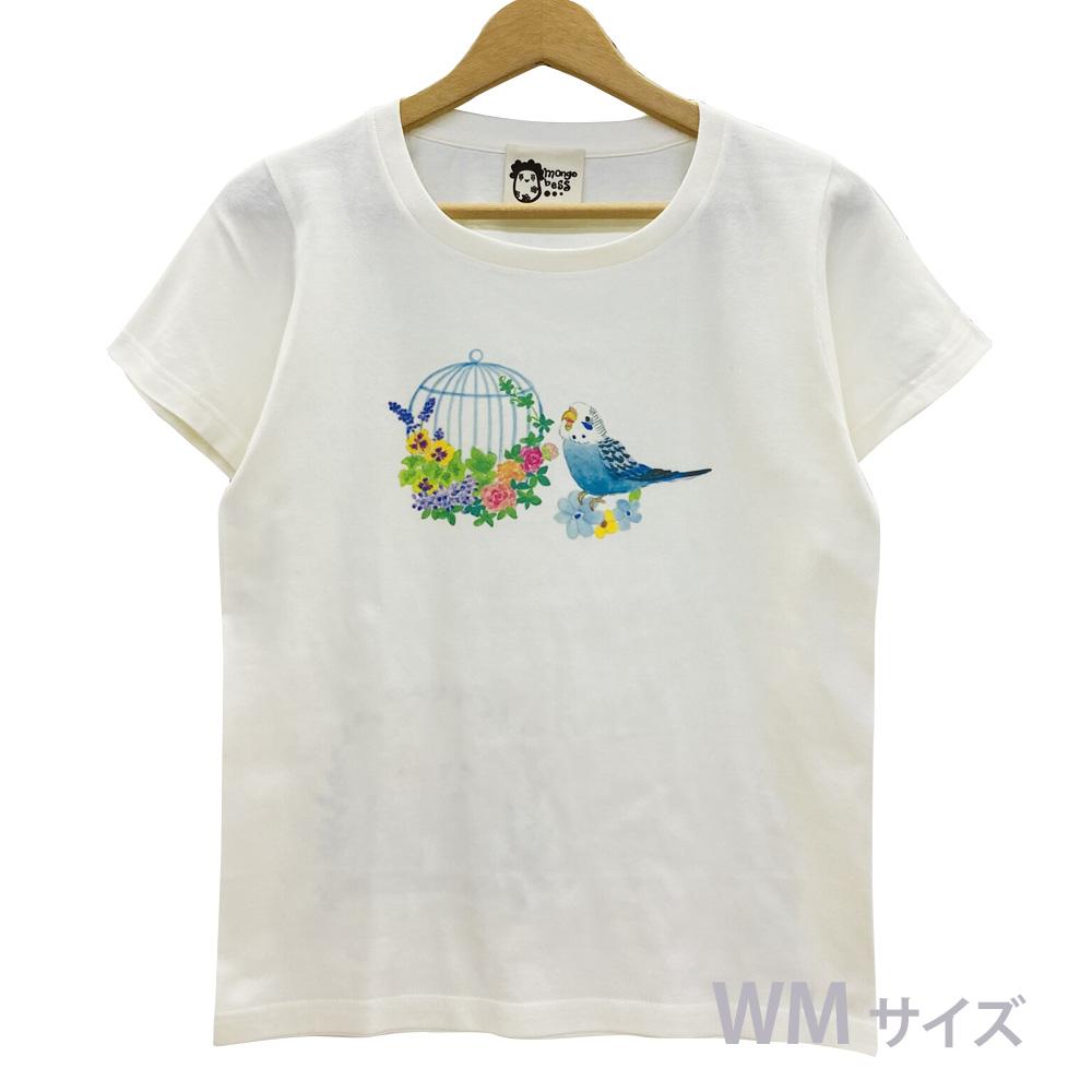 9998179【モンゴベス】 Tシャツ・女性用M / 鳥カゴ・セキセイブルー ◆